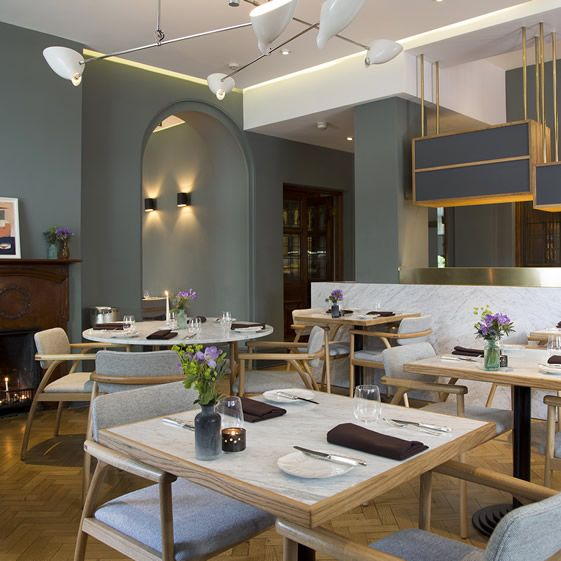 Designers Ariana Rees Roberts and Lucinda Johnson have continued their excellent work next door in Typing Room, where chef Lee Westcott is wowing diners amid the sensitively renovated Edwardian surrounds; oak, marble and natural textiles make for an elegant period dining area...