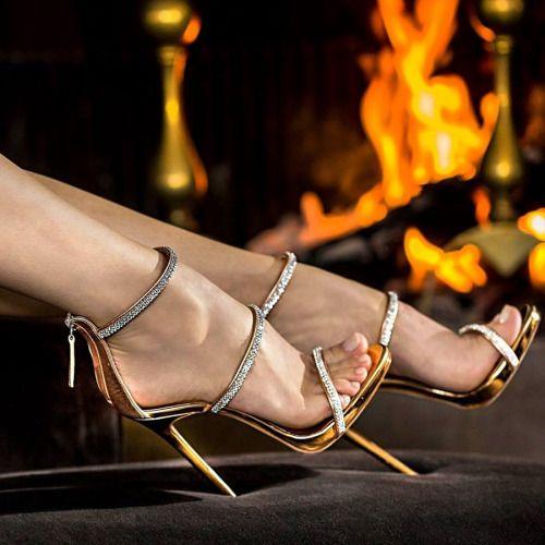 ideservenewshoesblog: Harmony Sparkle - Golden Heels By Giuseppe Zanotti Design