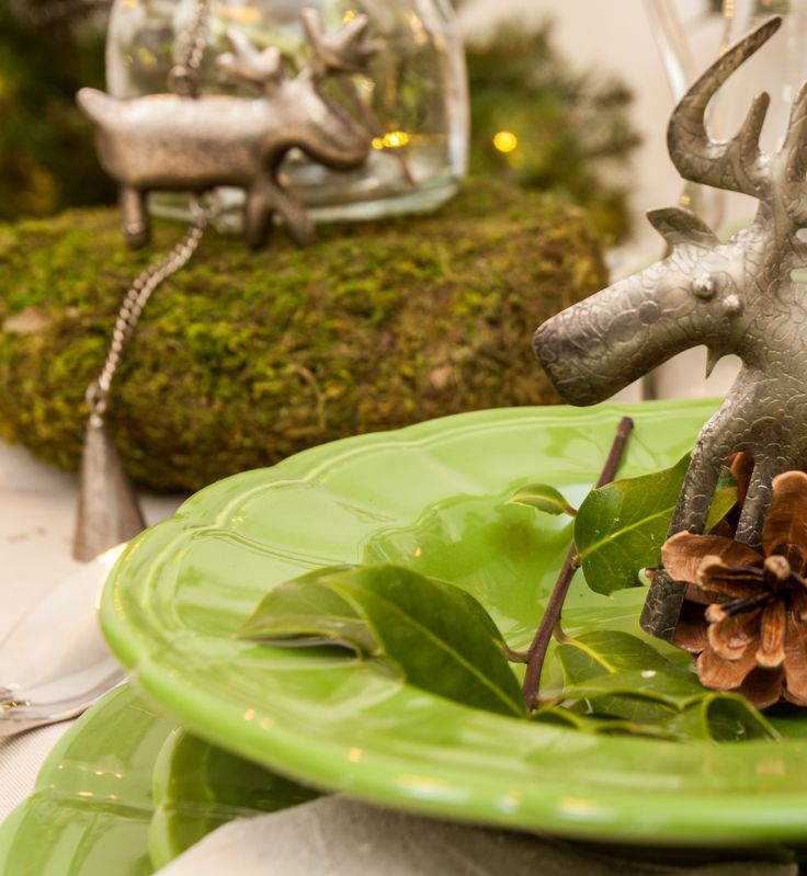 Magical Reindeer Decorations, Green Plate sets - Forest Theme Party