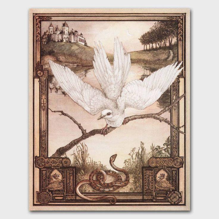 "Vintage ""The Dove & the Snake"" fairy tale print, 1980s storybook page. #EtsySellersofInstagram #gothstyle #snakeart #whitedove #midieval #fairytale #1980sart #goodvsevil #gothicart #ParagonVintagePrints 1980s Aesop's Fable interpretation. http://etsy.me/2E0RcCi"