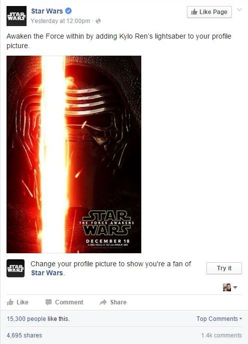 Create a temporary profile picture on Facebook, you shall, to honor the release of Star Wars: The Force Awakens.