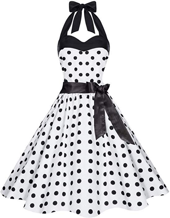 8e38800a0024 Damen 50er Retro Rockabilly Pola Dots Petticoat Neckholder Kleid Weiss mit  Schwarzen Dots