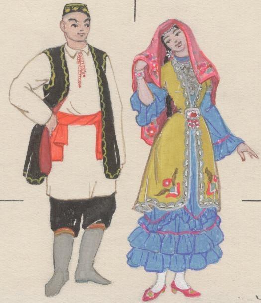 Татарский народный костюм картинки для детей дошкольного возраста