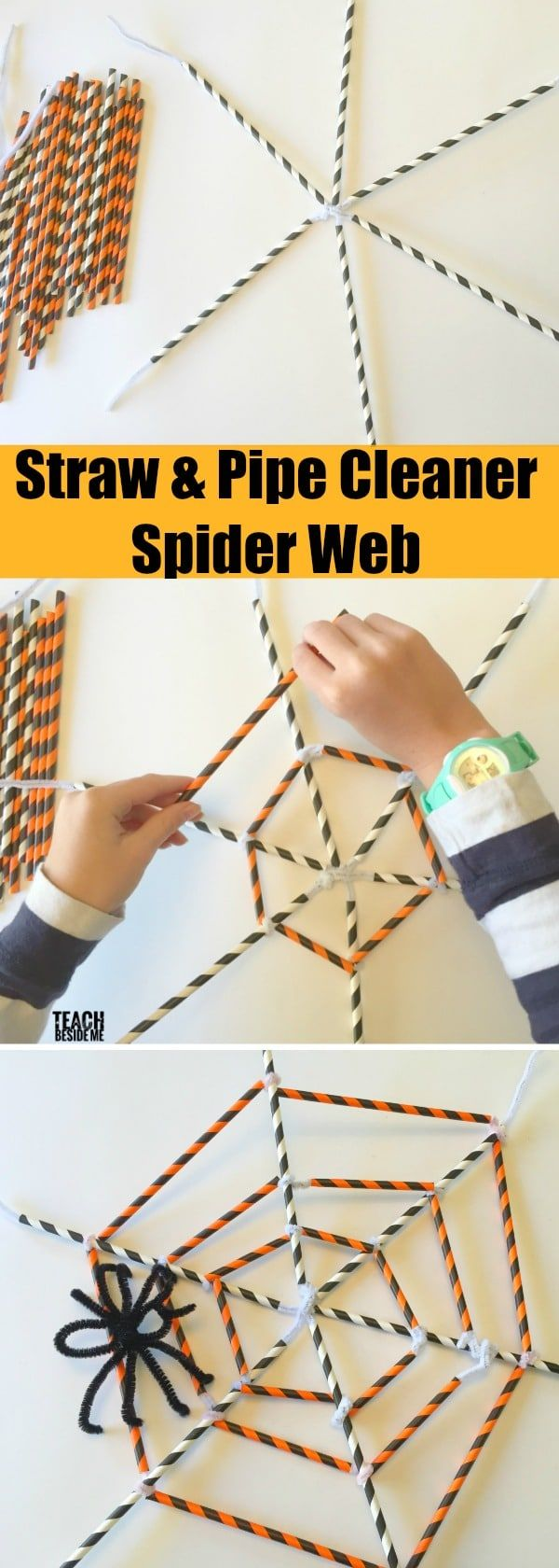 Build a Straw and Pipe Cleaner Spider Web this Halloween! This is a perfect Halloween Craft or a great Halloween STEM challenge, too!   via @karyntripp