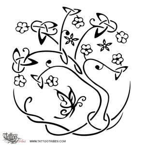 oak tree of life / dara, stylized with butterfly / fairy celtic