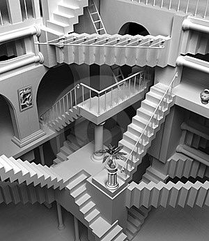Only those who attempt the absurd will achieve the impossible. I think it's in my basement... let me go upstairs and check. M.C. Escher More