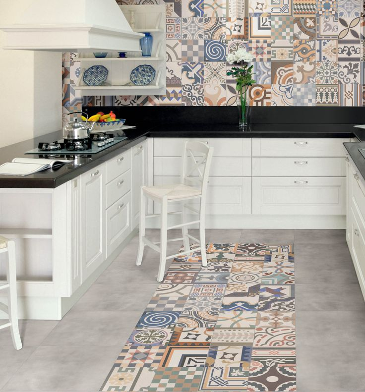 Shoreditch - Playful and adventurous, this patchwork tile is unlike its smaller counterparts. Bold use of pattern and colour make this a treat for all and a tile that's as much a statement as it is a feature. This porcelain tile creates the effect of encaustic tiles on a budget.