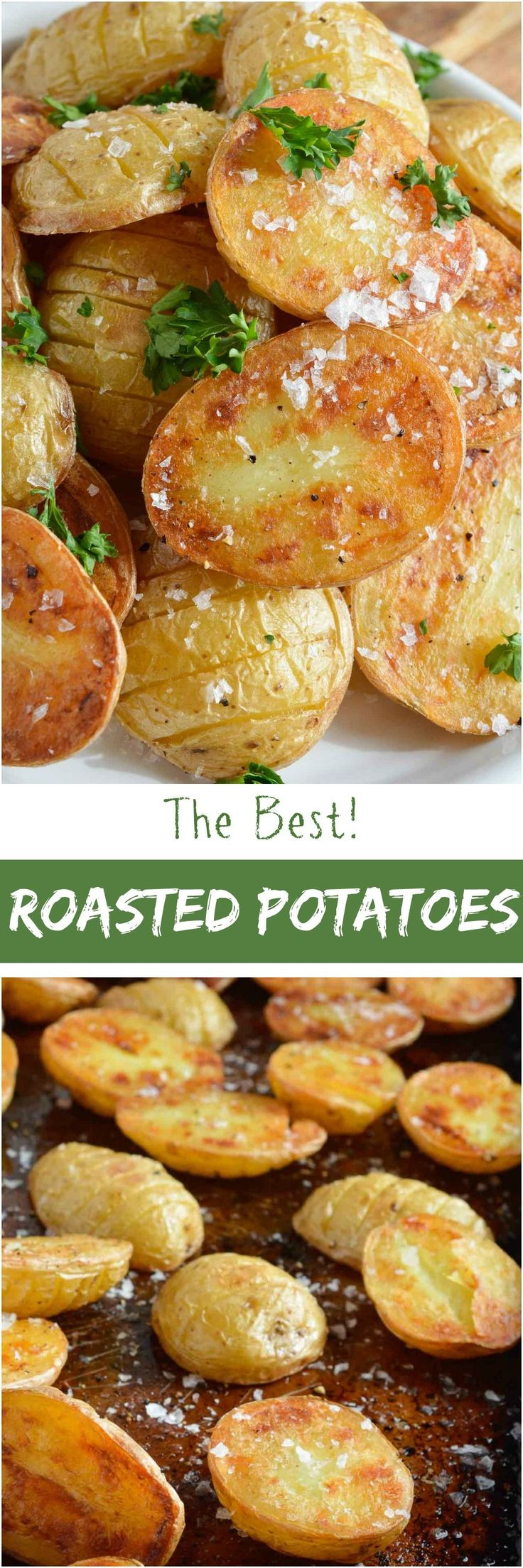 These Simple Oven Roasted Potatoes are absolute potato perfection! Golden brown and crispy on one side, creamy and dreamy on the other. This recipe is great as a side dish for just about any meal! #sidedish wonkywonderful.com