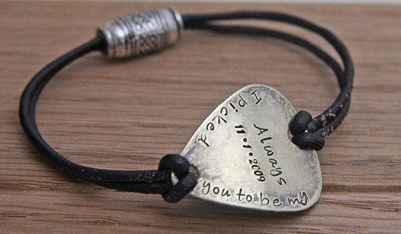 Personalized Guitar Pick Bracelet, Hand Stamped Leather Bracelet,