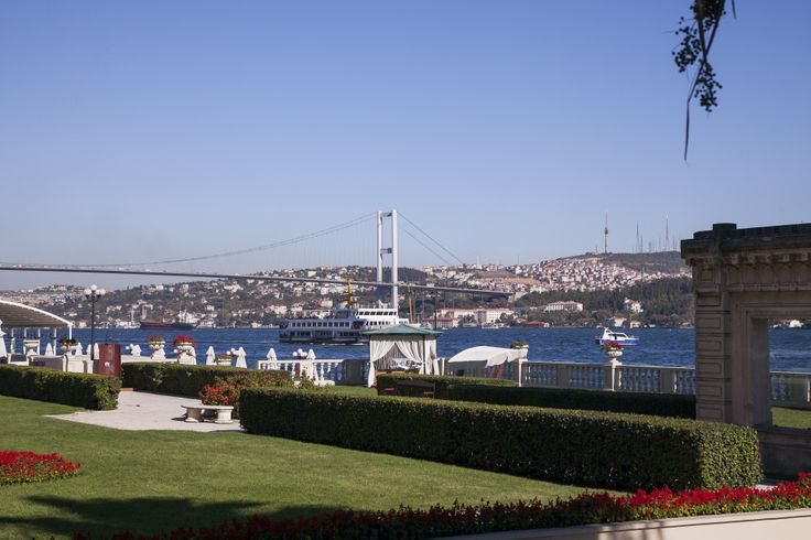 The bustling Bosphorus, with small boats, cruise ships, and more.