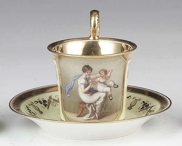 Royal Vienna Finely Gilt and Polychromed Cabinet Cup and Saucer , c. 1820