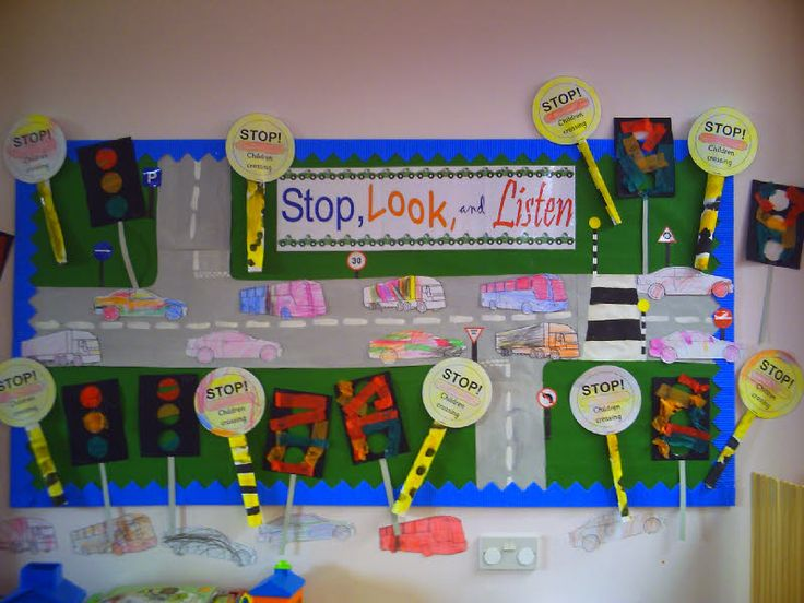 Stop Look And Listen Road Safety Classroom Display Photo