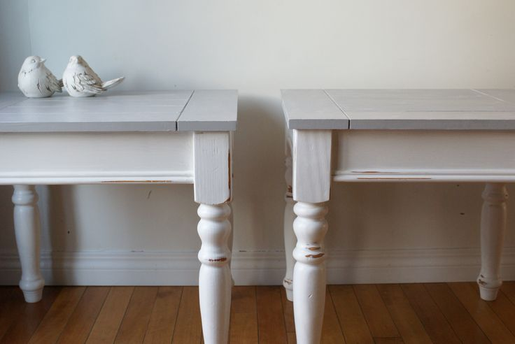 shabby chic side tables in white  #paintedfurniture #diy #shabbychic #tables #anniesloan  #chalkpaint www.facebook.com/2ndhomefurnishings