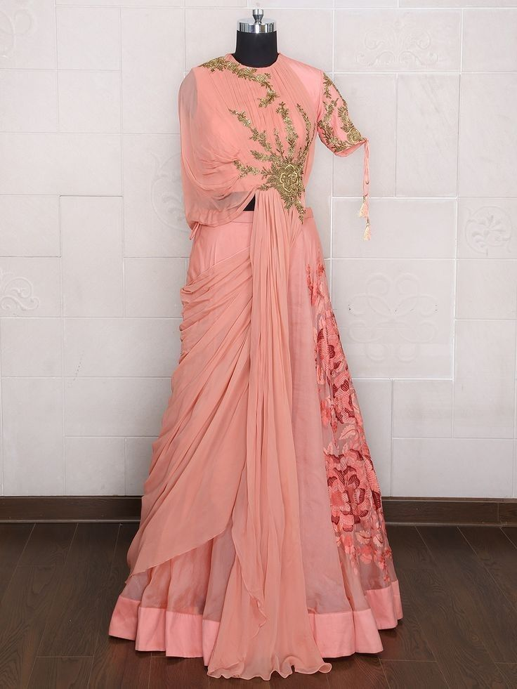 ee6c46d376cf2 Indo-Western gown with beautiful hand embroidery buta | Indo-Western ...