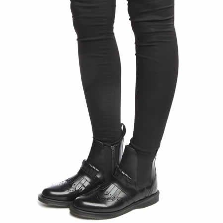 womens dr martens black tina brogue chelsea kiltie boots ...