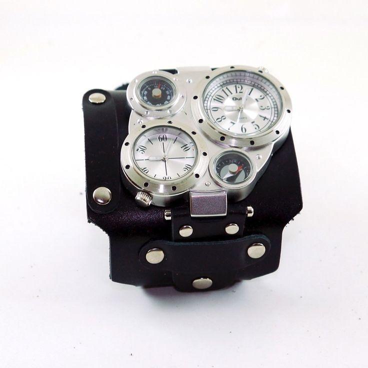 Винтажные handmade мужские часы в новомодном стиле стимпанк с ромбовидным циферблатом, напоминающим пульт самолёта с приборами – на их создание автора вдохновила винтажные часы Авиатор. Смелый модный аксессуар с двойными рабочими хронометрами и декоративными компасом и термометром, распо