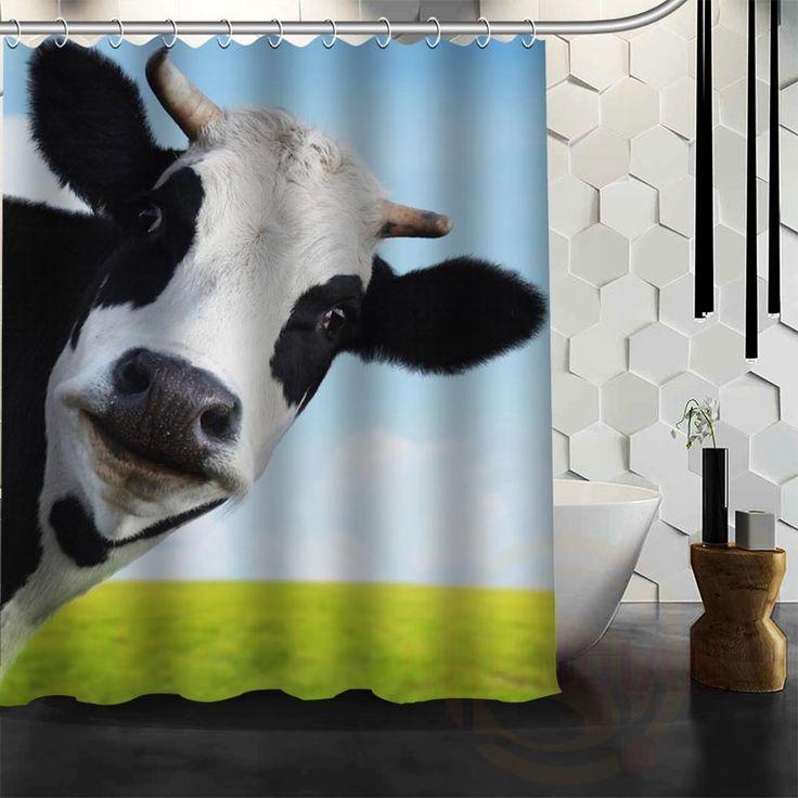 Best Nice Custom Cow Shower Curtain Bath Curtain Waterproof Fabric For Bathroom MORE SIZE WJY#75