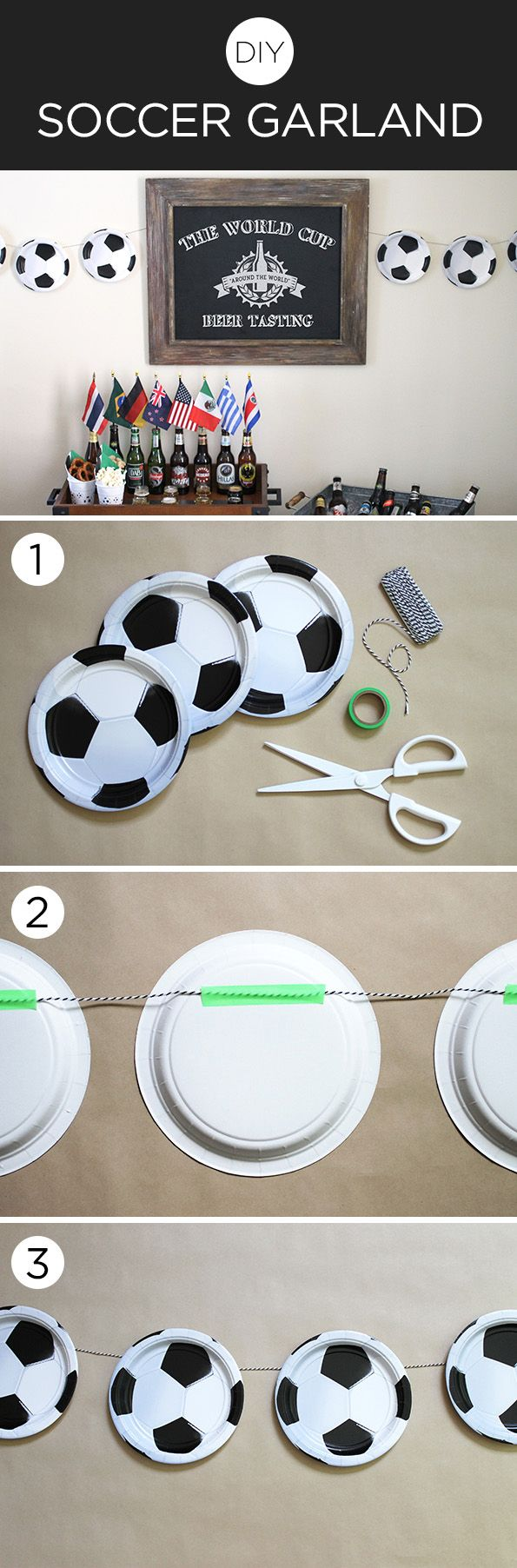 Get in the #WorldCup spirit by making this #DIY soccer ball garland with supplies from @birthdayexpress.