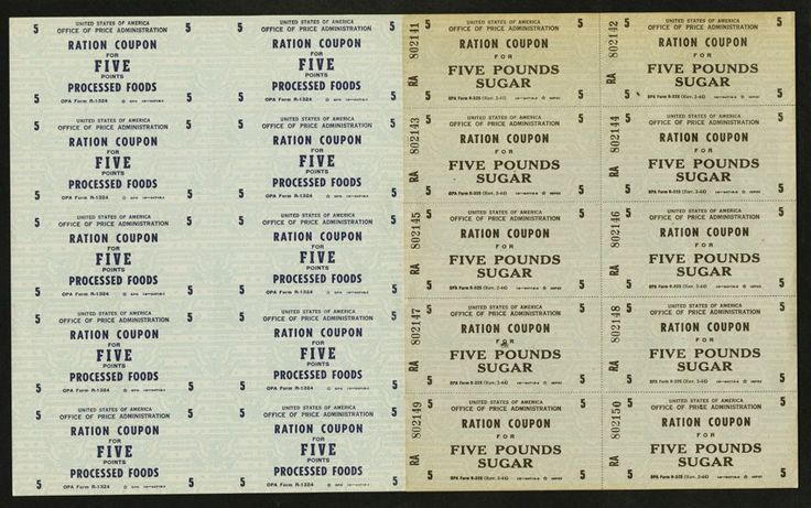 World War Two Ration Coupons. Processed Foods 1 Point Block of Four Processed Foods 5 Points Block of Ten Five Pounds Sugar Block of Ten.
