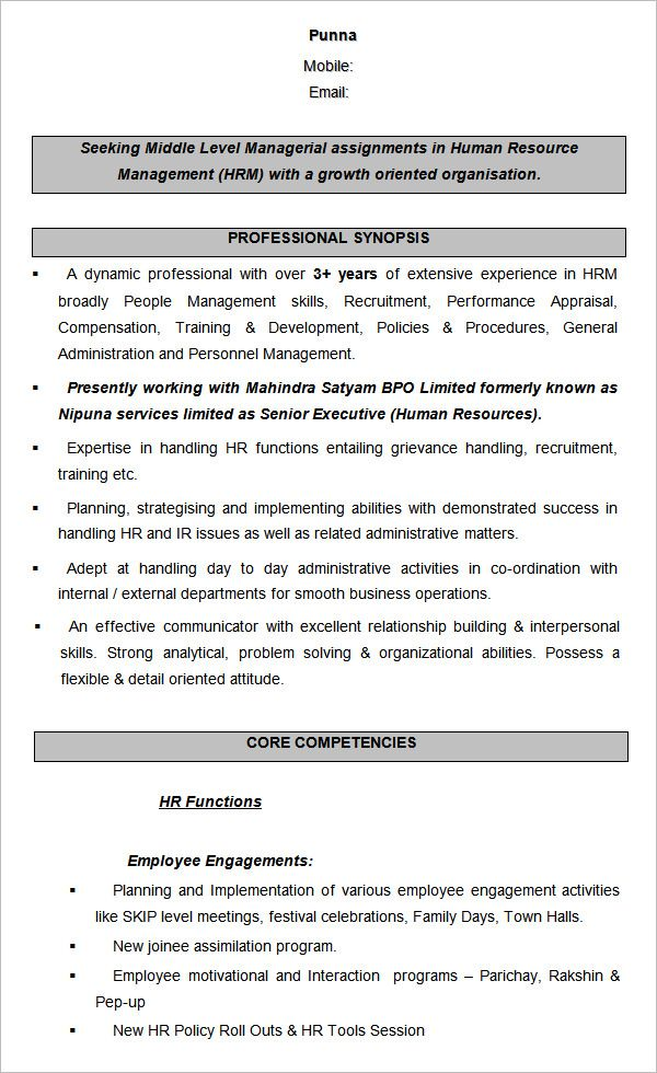 Cv Template For Over 40 Human Resources Resume Sample Resume Templates Hr Resume