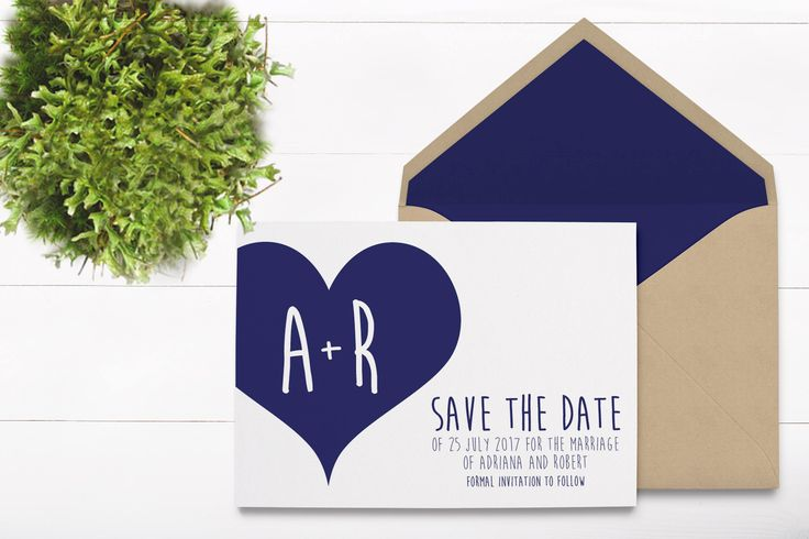 Navy Heart Save The Date - Navy Blue Wedding Invitations - Save The Date Card - Invitation Card - Save The Date Template - Simple Invitation