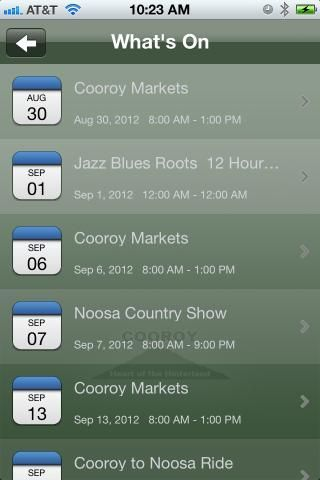 The Cooroy App is for locals and visitors alike to keep them in touch and up to date with local events, clubs, associations and businesses. <br>It also contains information on local attractions and amenities around the Cooroy area and links to bus and rail timetables for those looking to travel and much more local information.<p>• Things to Do and See<p>From nature experiences to shopping and dining there is heaps of things to do and see in and around our region. Visit our Attractions Page…