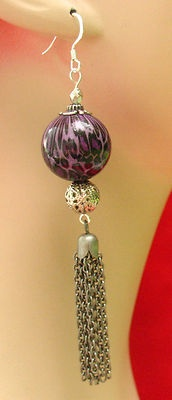 Purple Leopard Print Tassel Earrings Handmade