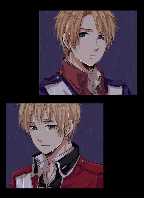 America and England, Hetalia>>>I kind of like how England has a kind of slight smile on his face, seeing America eventually one of the most powerful countries in the world. Makes me think in the end, Iggy was at least a little proud of him.