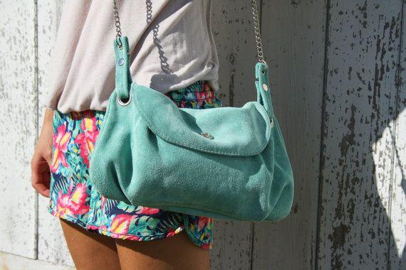 Mint green suede bag - crossbody everydat suede bag in mint green / Bolso de ante verde menta - suede collection