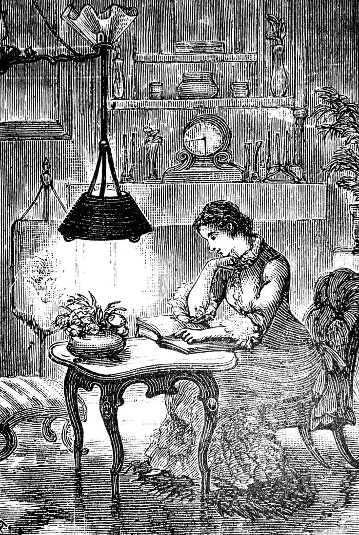 """Woman staying up late reading thanks to her new reading lamp. 'A New Reading-Lamp.' Cassell's Magazine, 1882. """"A good library will never be too neat, or too dusty, because somebody will always be in it, taking books off the shelves and staying up late reading them."""" ― Lemony Snicket, Horseradish"""