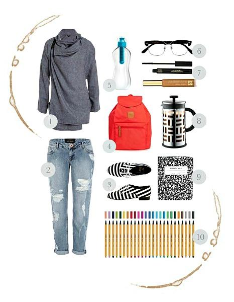 Study Style: Boyfriend Jeans, Slouchy Jacket, Coral Backpack, Stripes Shoes, iPad case, Glasses, Simple Makeup, Colourful Pens (put together by denim-espresso.blogspot.com.au)