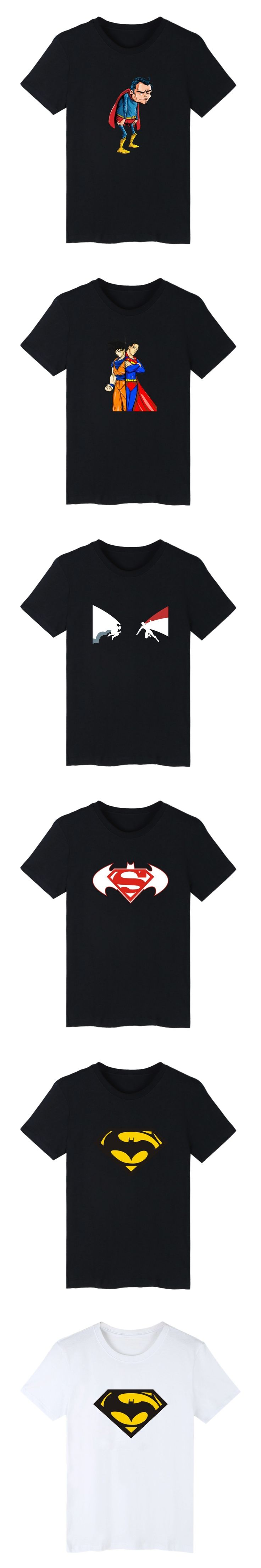 Cartoon Superman VS Batman Short Sleeve Tshirt Men Brand Fashion Black Funny T Shirts For Men Saiyan Tee Shirt Men Cotton 4XL