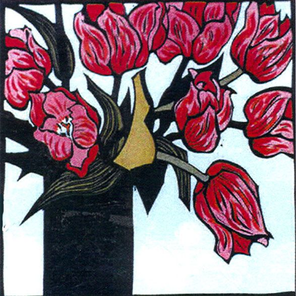 Kit Hiller (Tasmanian contemporary artist) - Tulips - Hand coloured linocut