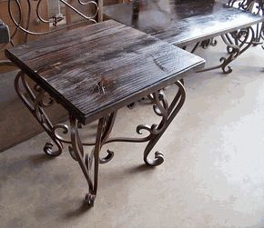 Wrought Iron End Table Base W Wood Top Home Sweet Pinterest And