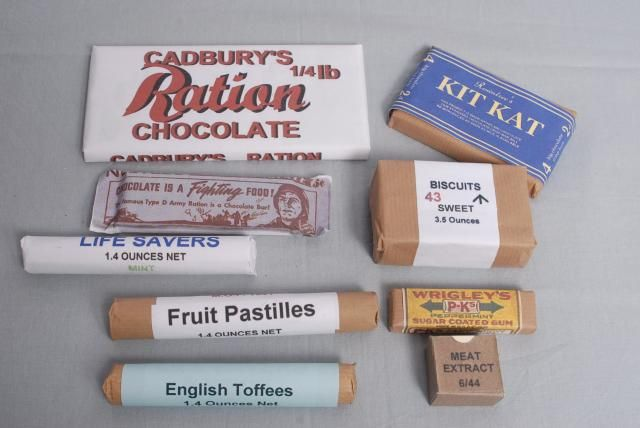 During WWII many things were rationed, including sweets and  chocolates, notice the packets, they are very basic and not very eye-catching Sweet rationing ended in 1953