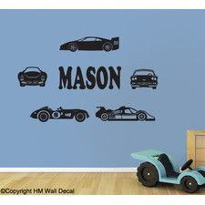 Personalised Name and Cars Removable Wall Sticker For Zak