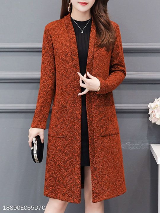 Collarless Patch Pocket Embossed Floral Trench Coat