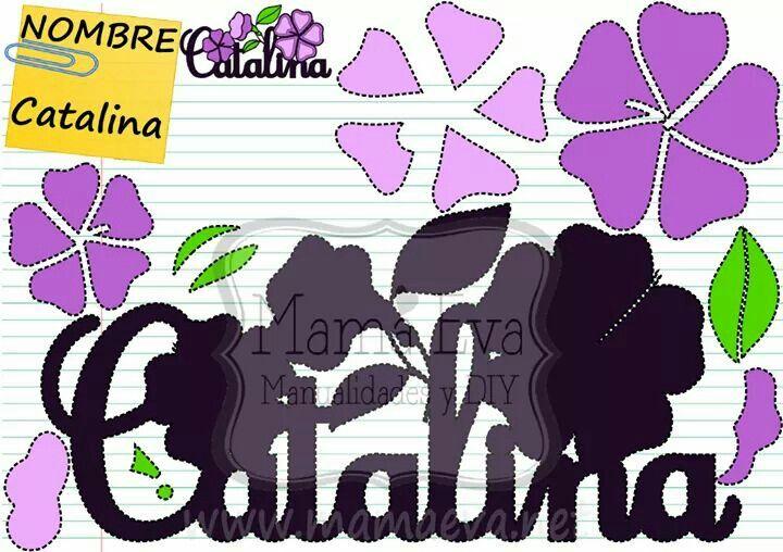 Nombre de CATALINA en goma eva. Haz el nombre de tu hijo o hija en Goma Eva! Tenemos decenas de diseños en www.mamaeva.net Pide el tuyo en www.facebook.com/mamaevanet. Te esperamos! :-) :-)