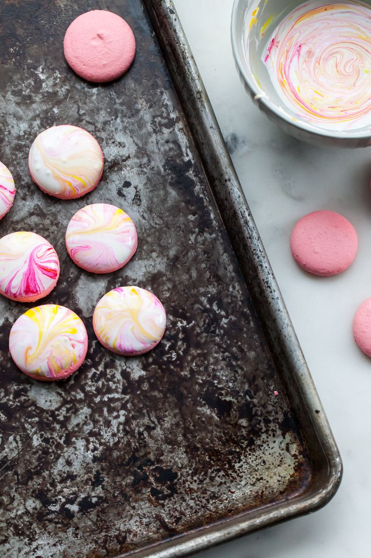 Marble macarons with earl grey buttercream and pink lemonade filling.