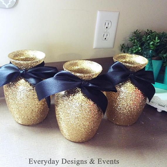 3 Gold and Black Vases Centerpieces Wedding Centerpieces Baby