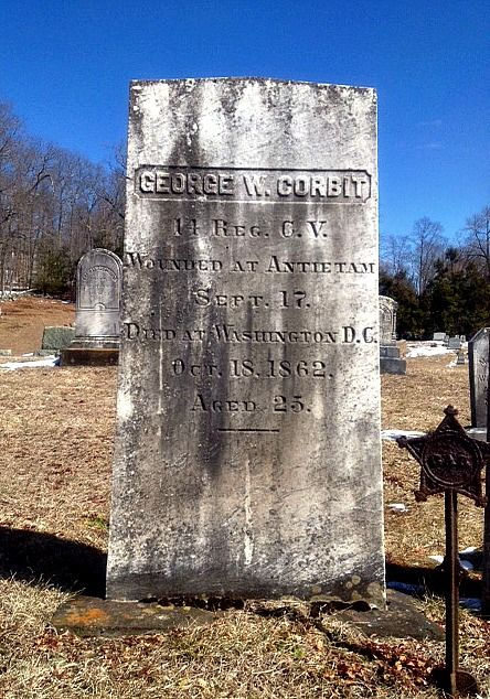 Private George Corbit of the 14th Connecticut died in a Washington D.C. hospital after he was wounded on William Roulette's farm at Antietam. He is one of three men from Coventry who were mortally wounded at the battle. He is buried in Center Cemetery in Coventry.