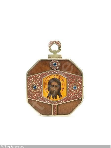 FABERGÉ Karl (Carl), 1846-1920 (Russia) Title : Miniature icon Date : 1908/1917   Category : Enamel Medium : : silver-gilt, jewelled and enamelled