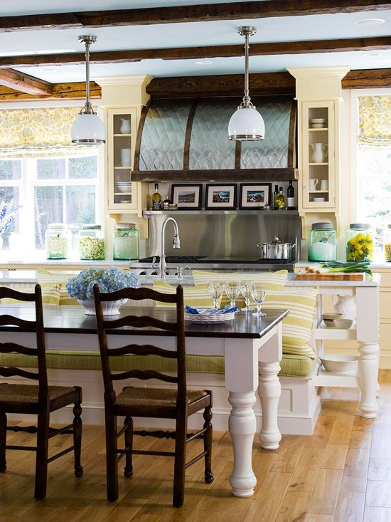 Do you have a long island? We've got you covered. Opt for a cute white bench to cut down on wasted space. See more eat-in kitchens: http://www.bhg.com/kitchen/eat-in-kitchen/eat-in-kitchens/?socsrc=bhgpin122212eatinisland=16