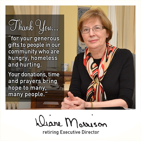 On Friday our long-time Executive Director, Diane Morrison, retired. We wish her a joyful and blessed retirement. She will be sorely missed, though gifts of her ministry here will continue to be felt here for years to come. Thank you Diane, and God Bless