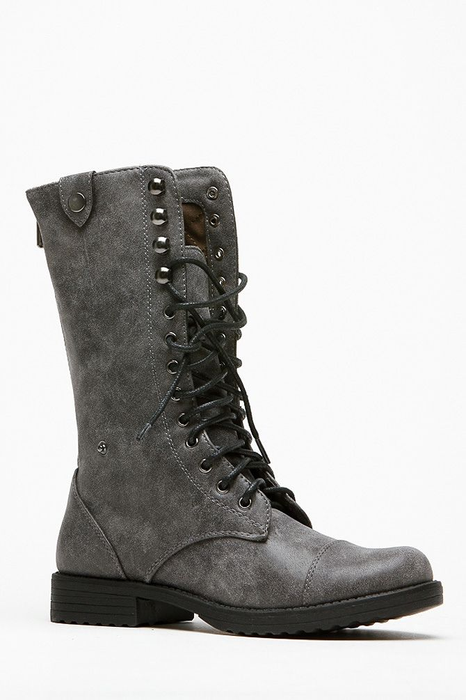 Mid Calf Ankle Grey Boots