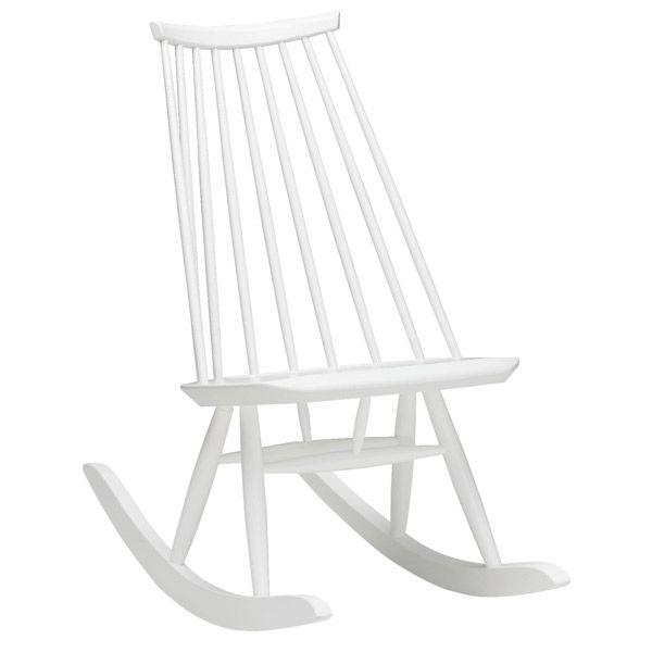 Mademoiselle rocking chair, white, by Artek. Design by Ilmari Tapiovaara.