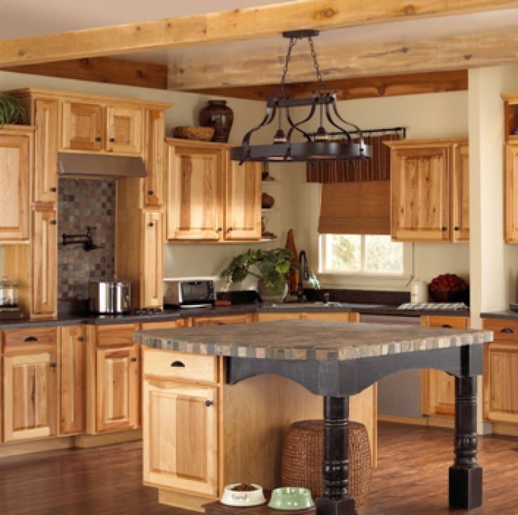assembledhickorykitchencabinets These natural hickory kitchen cabinets