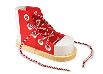Melissa and Doug lacing Boot. Excellent Wooden Toy for enhancing fine motor skills and to learning how to tie a know all while having FUN! For more information follow this link http://www.shellstreasures.com.au/#!product/prd1/1215450231/melissa-%26-doug-wooden-lacing-sneaker