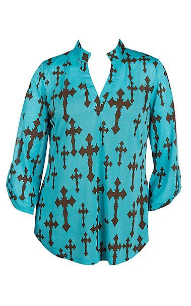 Cowgirl Hardware Women's Blue with Brown Crosses 3/4 Tab Sleeve Hi-Lo Fashion Top - Plus Size   Cavender's