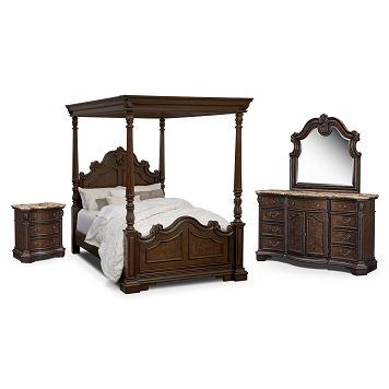 Monticello Pecan Canopy Bedroom 6 Pc King Bedroom Value